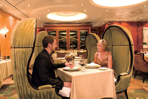 Oasis-of-the-Seas-150-Central-Park-couple - 150 Central Park on Oasis of the Seas offers a six-course tasting menu featuring distinctive  ingredients paired with wines from around the world.
