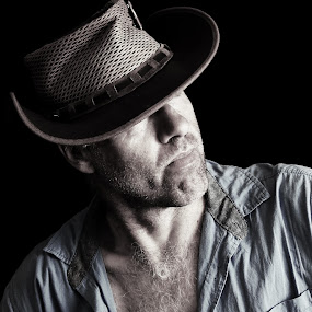 Yip by Ruari Plint - People Portraits of Men ( selfie, cowboy, portrait. hat, open shirt, serious, man, Selfie, self shot, portrait, self portrait )