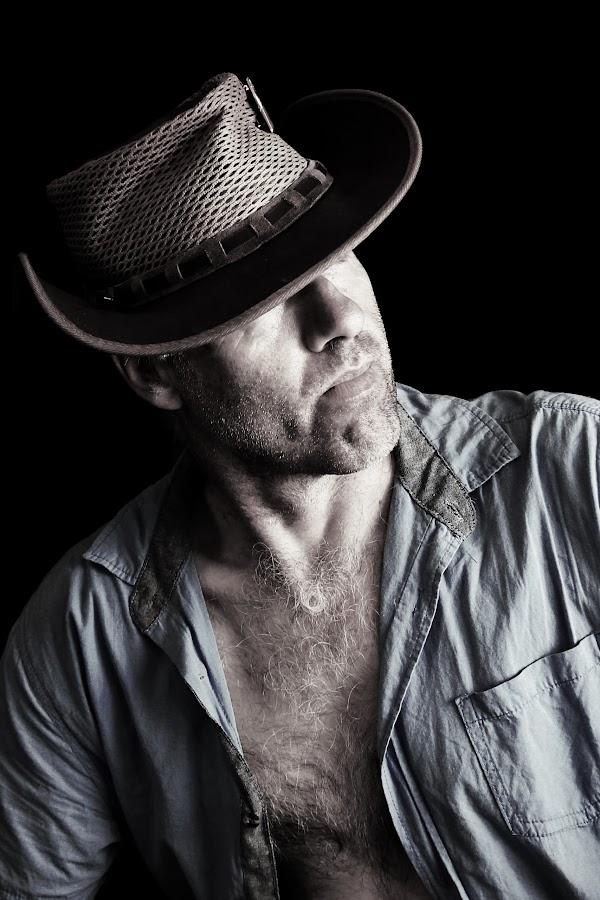 Yip by Ruari Plint - People Portraits of Men ( selfie, cowboy, portrait. hat, open shirt, serious, man, Selfie, self shot, portrait, self portrait )
