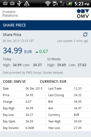 OMV Investor Relations- screenshot