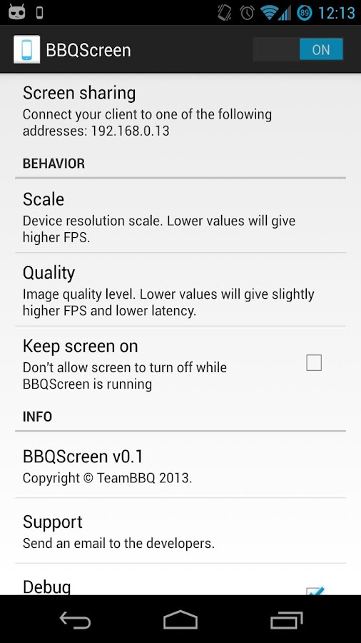 BBQScreen Remote Control - screenshot