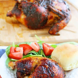 Roasted Jamaican Jerk Chicken with Mango Salsa.