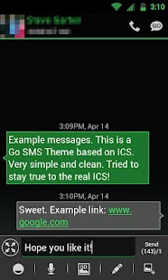 GO SMS THEME -Smooth ICS Green- screenshot thumbnail