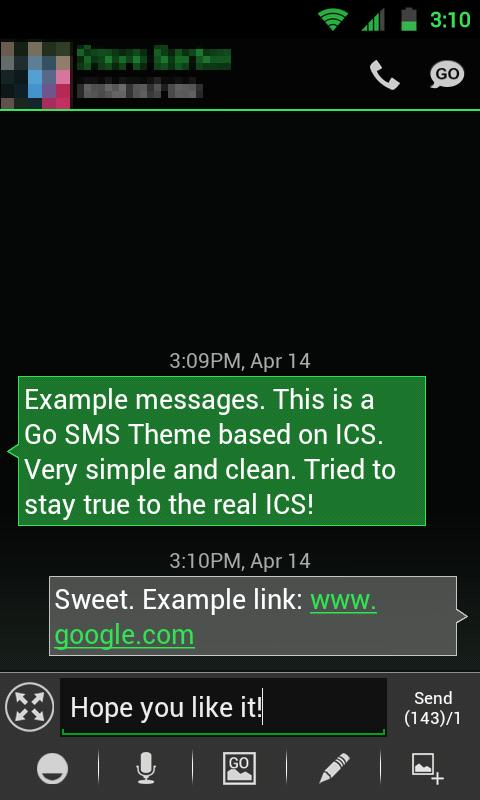 GO SMS THEME -Smooth ICS Green - screenshot
