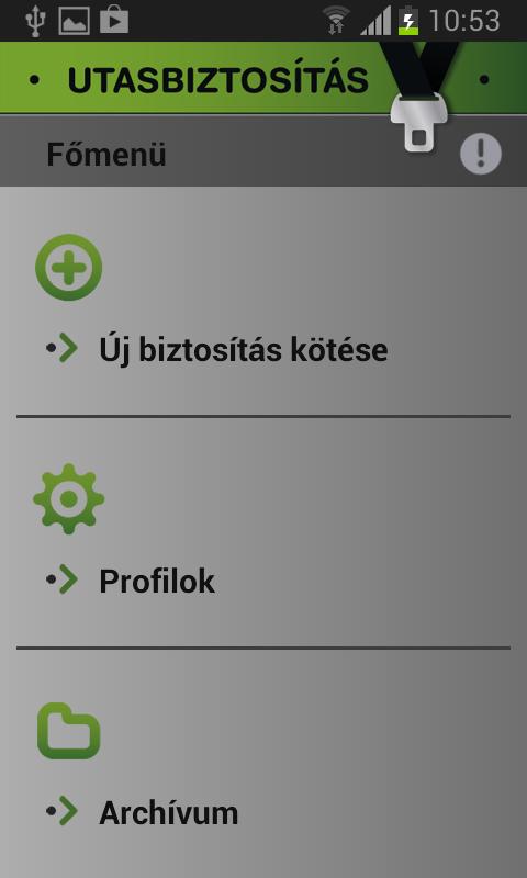 Utasbiztosítás- screenshot