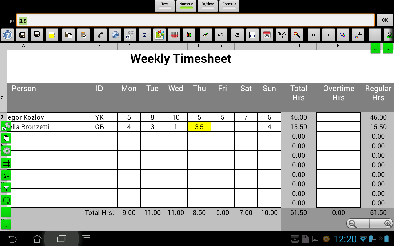 e-Droid-Cell Pro Spreadsheet - screenshot