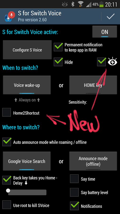 S for Switch Voice Free- screenshot