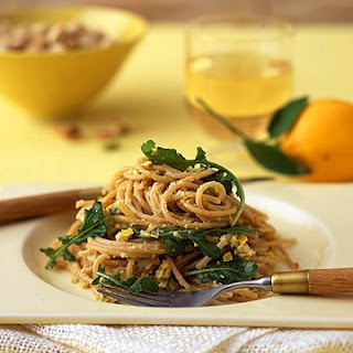 Whole-Wheat Spaghetti with Meyer Lemon, Arugula, and Pistachios