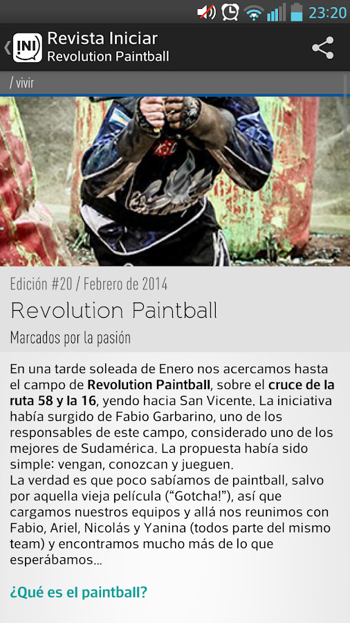 Revista Iniciar: captura de pantalla