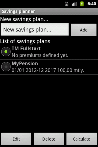 Savings planner- screenshot