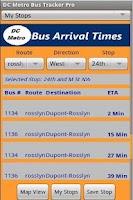 Screenshot of DC Metro Bus Tracker Pro