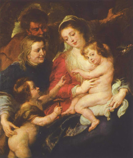 "Holy-Family-Rubens-Cologne - ""Holy Family"" (c. 1634) by Rubens depicts the holy family with St. Elizabeth and young St. John the Baptist. It's at the Wallraf-Richartz-Museum in Cologne, Germany."