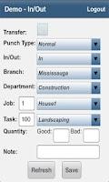 Screenshot of TimeTrex Mobile