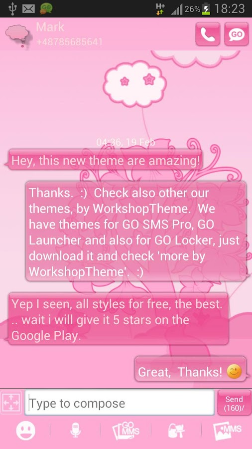 GO SMS Pro Theme Pink Animal- screenshot