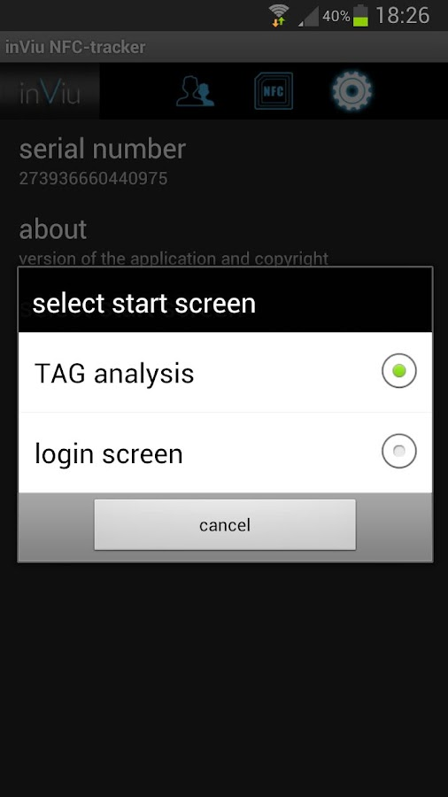 inViu NFC-tracker- screenshot