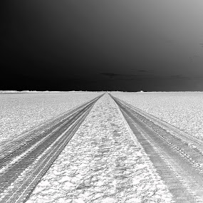 Long Way To Go by Sandeep Nagar - Black & White Landscapes ( long road, sand, long way to go, sandeep, south, india, mark, road, landscape, , vertical lines, pwc )