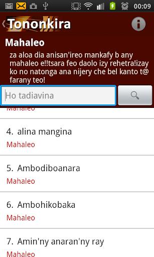 application tononkira malagasy