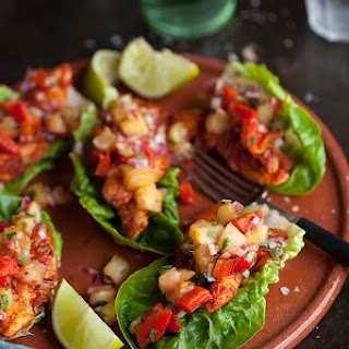 Lettuce Tacos with Chipotle Chicken and Grilled Pineapple Salsa Recipe