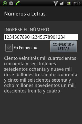 Números a letras- screenshot