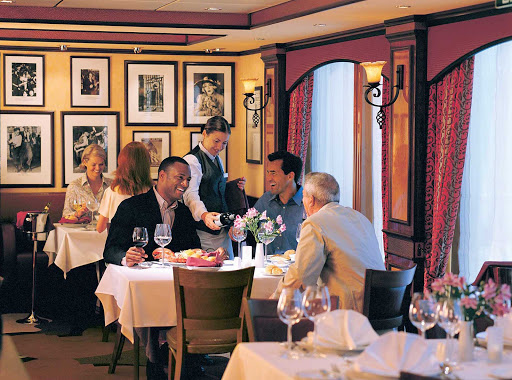 The scene at Cagney's, the steakhouse known for its choice cuts of Certified Angus Beef, jumbo crab cakes and truffle fries. The cost is $30 per person. (This shot was taken on Norwegian Dawn.)