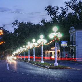 Street Lights of Franklin Louisiana by Larry Landry - City,  Street & Park  Night ( #southlouisiana, #franklin, #cajuncountry, #nightshots, #streetlights )