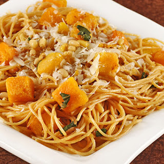 Spaghetti with Butternut Squash, Pine Nuts and Sage.