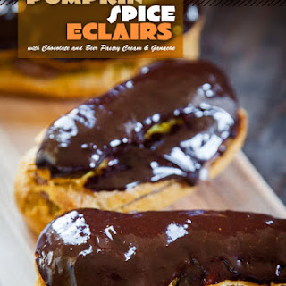 Pumpkin Spice Eclairs with Chocolate Beer Pastry Cream and Ganache.