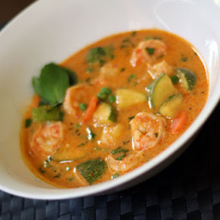 Red Curry with Shrimp, Zucchini, and Carrot.