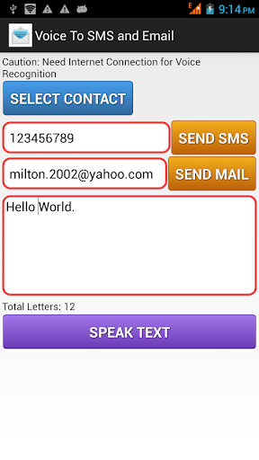 Voice To SMS and Email