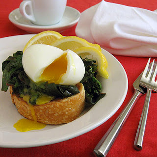 Soft Boiled Eggs with Red Spinach.