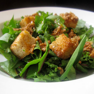 Winter Green Salad with Chorizo Vinaigrette.