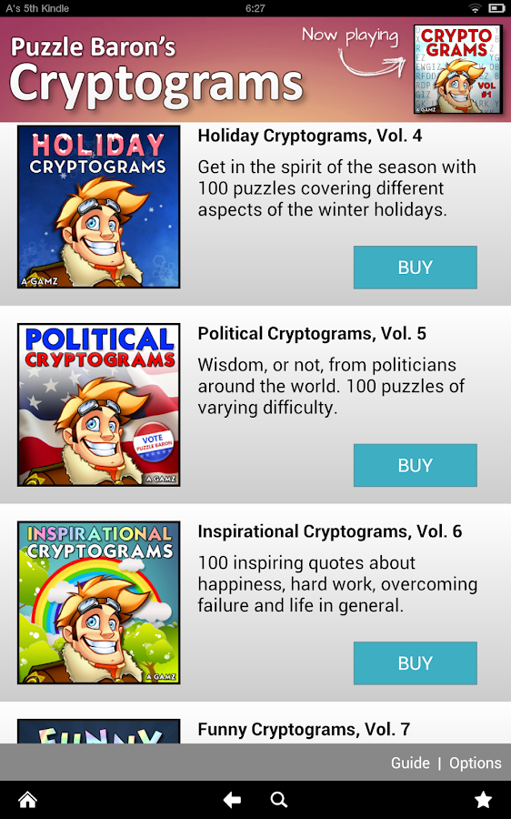 Cryptograms by Puzzle Baron - screenshot
