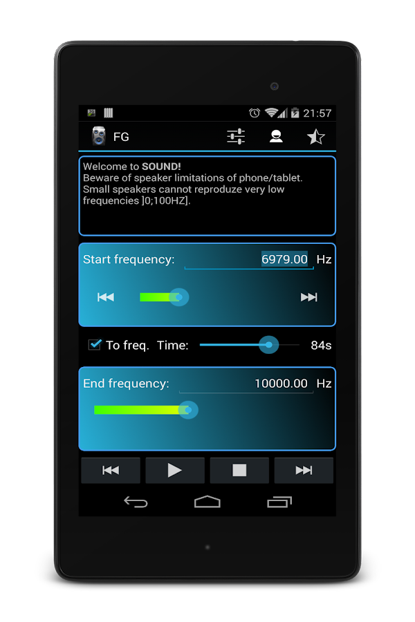 Frequency Sound Generator - screenshot
