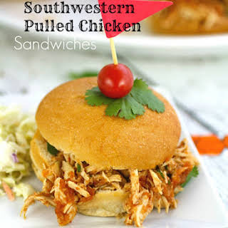 Slow Cooker Southwestern Pulled Chicken Sandwiches.