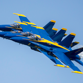 Four Abreast by Jerry Alt - Transportation Airplanes ( angel, f-18, blue, airplane, air show )