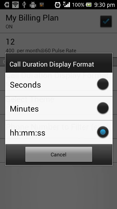 My Call Duration-Unlimited log - screenshot