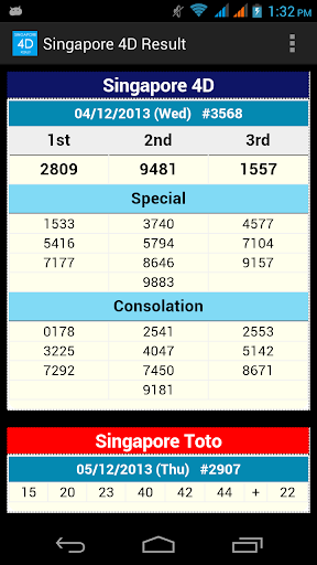 Singapore 4D Result