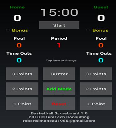 Basketball Scoreboard Tablet