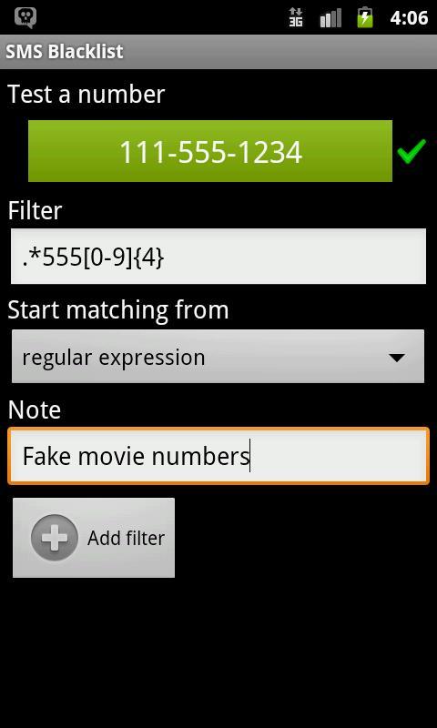SMS Blacklist- screenshot