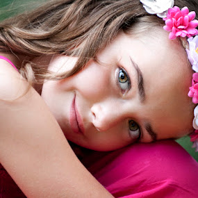 Pink by Melissa Papaj - Babies & Children Child Portraits ( child, glamour, model, girl, female, halo, beautiful, pink, wreath, flowers, pretty )