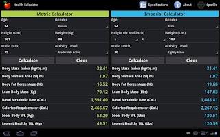 Screenshot of Health Calculator Tablet