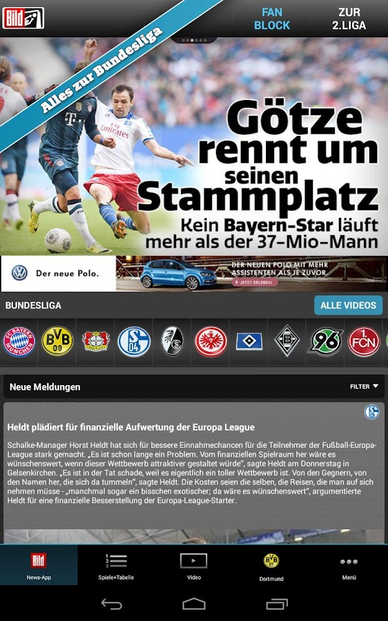 BUNDESLIGA bei BILD - screenshot
