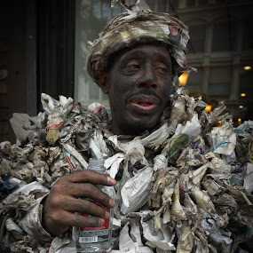 Recycle Man by VAM Photography - People Street & Candids ( recycle, nyc, places, street and candid, coat, man,  )