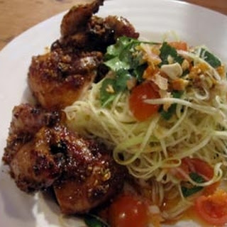 Lacquered Quail With Hot And Sour Green Papaya Salad
