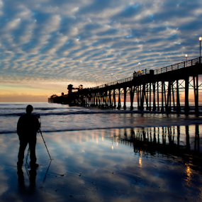 The Photographer by Alan Crosthwaite - Landscapes Beaches ( clouds, oceanside, reflection, colorful, california, reflected, ocean, tourism, beach, travel, coastal, san diego, waters, sunset, background, photographer, cloudy )