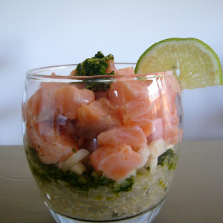 Salmon Quinoa With Coriander Pesto Appetizer.