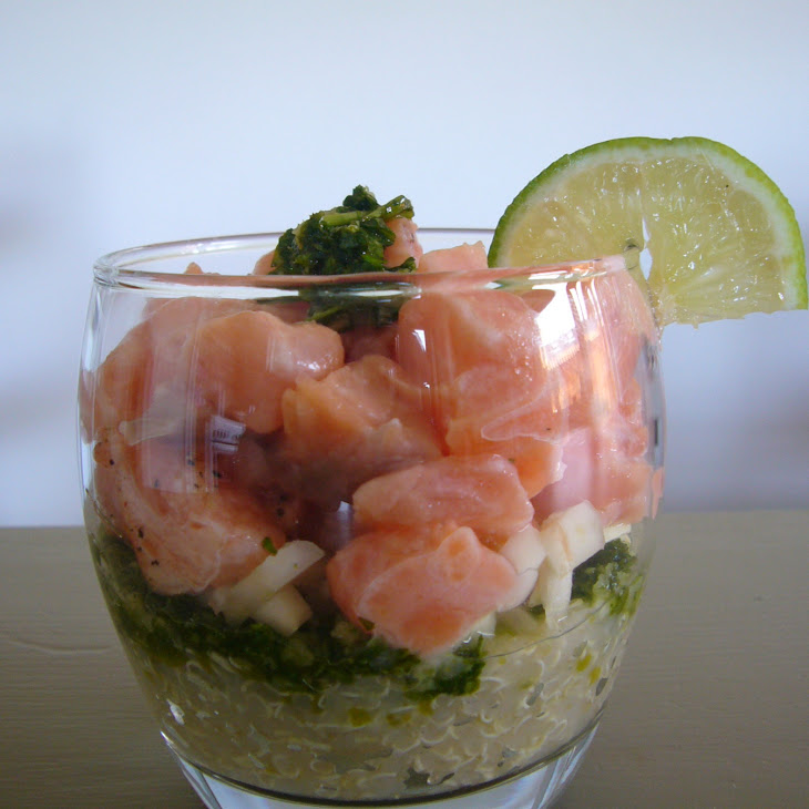 Salmon Quinoa With Coriander Pesto Appetizer