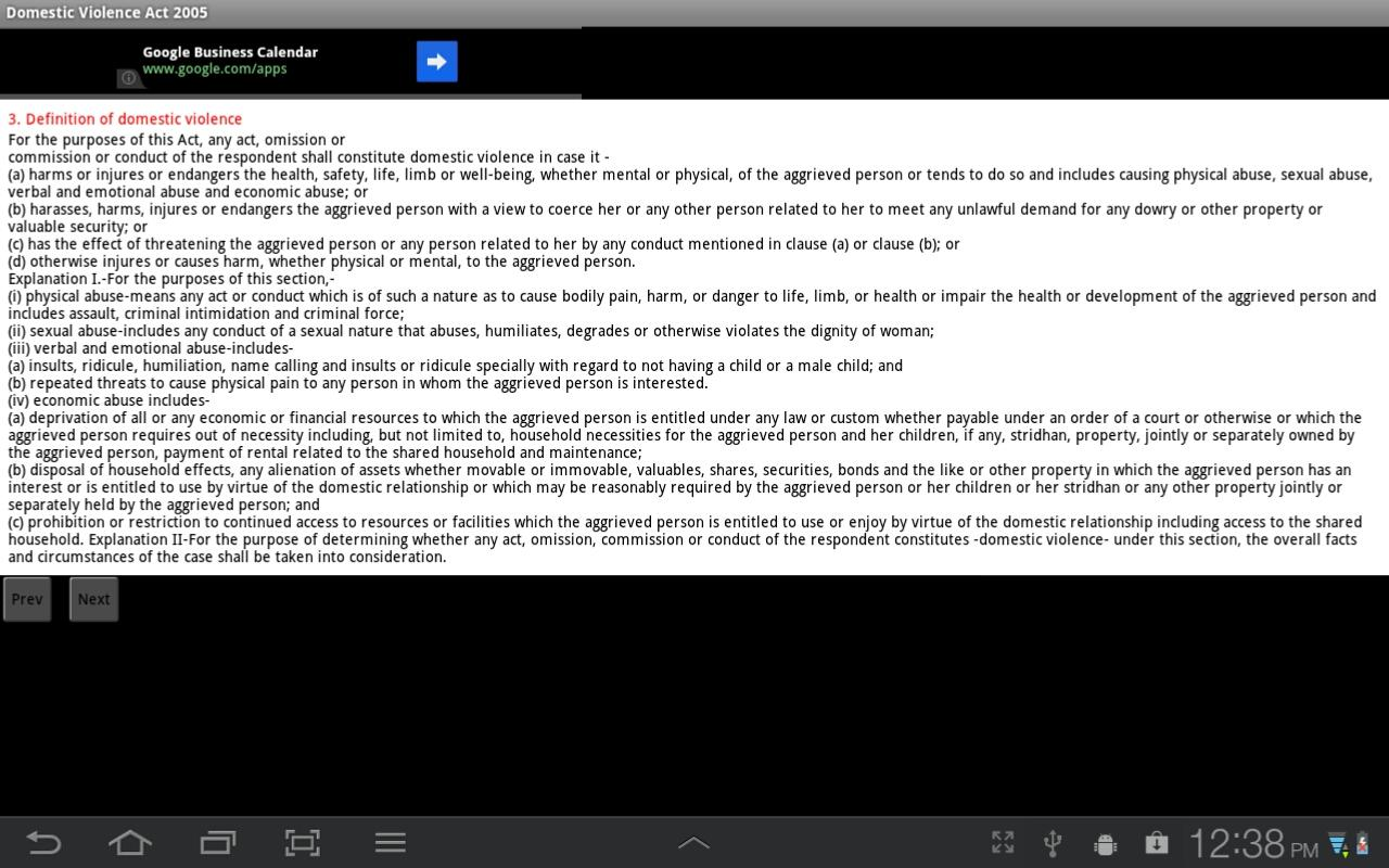 Domestic Violence Act 2005- screenshot