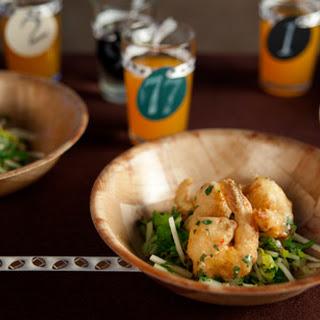 Crispy Creamy Rock Shrimp with Sweet Chile Aioli and Apple Slaw.