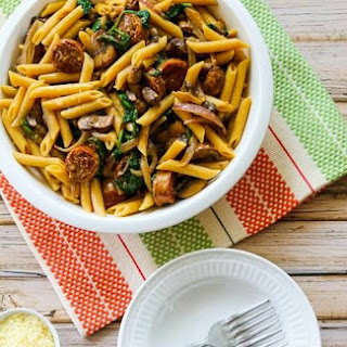 Penne Pasta with Spicy Italian Sausage, Mushrooms, and Spinach.